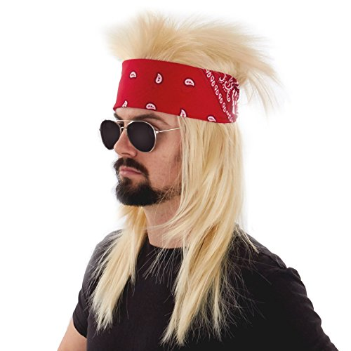 Kit Largemouth (Largemouth Men's Heavy Metal Hesher Costume Kit (Blonde/Red))