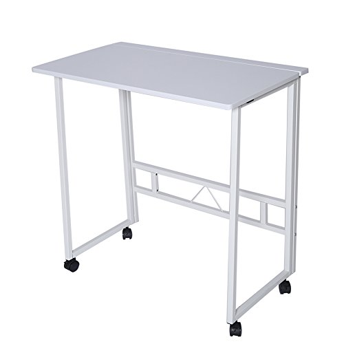 Folding Writing Table Rolling Laptop Notebook Computer Desk with Wheels Poarmeey(white) by Poarmeey