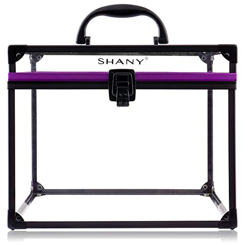 SHANY Clear Cosmetics and Toiletry Train Case – Extra Large Travel Makeup Organizer with Secure Closure and Black Purple Accents