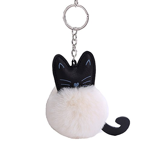 Kissweet PU Cute Cat Keychain Faux Rabbit Fur Pompom Puff Ball Key Ring Purse Backpack Handbag Charms for Women(Cat-white)