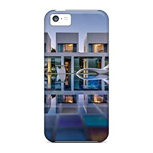 New Tpu Hard Case Premium Iphone 5c Skin Case Cover(luxurious Modern Mansion With Pool) by lolosakes