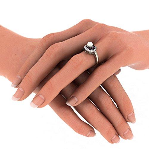 18K Or Blanc, 0,12carat Diamant Blanc (IJ | SI) Améthyste, Blanc perle et diamant Bague