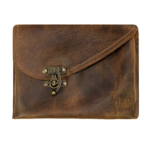 Hide & Drink, Petit Vintage Leather Clutch Bag Handmade Includes 101 Year Warranty :: Bourbon Brown