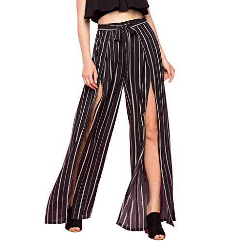 (Botrong Pants for Women, Striped Trousers Casual Wide Legs Split Yoga Pants Black)