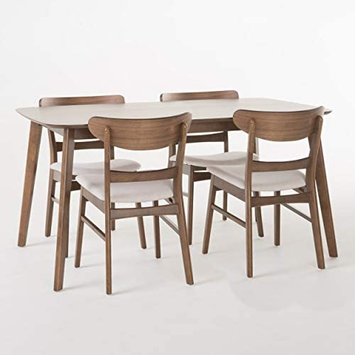Christopher Knight Home Helen Mid Century Fabric Wood 5 Piece Dining Set in Walnut Light Beige