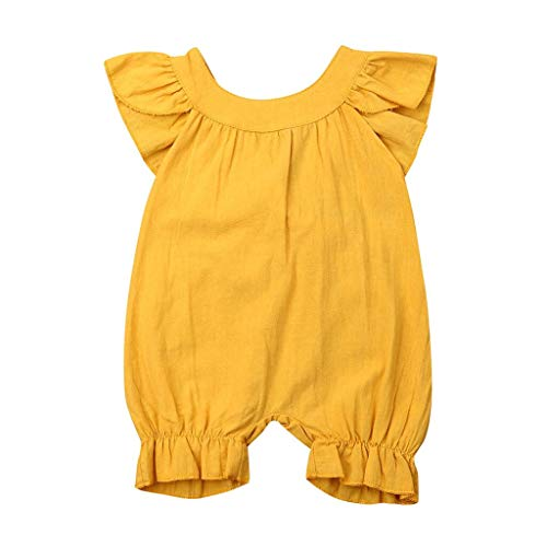 Trule Newborn Infant Baby Girls Solid Summer Sleeveless Romper Children