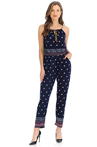 (Auliné Collection Womens Sleeveless Halter Neck Boho Long Pants Romper Jumpsuit - Raspberry Navy L/XL)