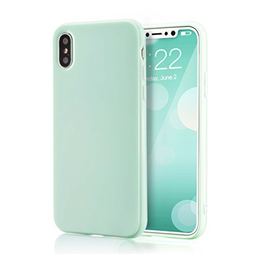 for iPhone Xs Mint Case, technext020 Shockproof Ultra Slim Fit Silicone iPhone 10 Green Cover TPU Soft Gel Rubber Cover Shock Resistance Protective Back Bumper for Apple iPhone X Mint