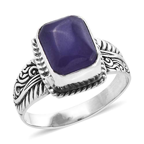 Solitaire Ring 925 Sterling Silver Octagon Purple Jade Jewelry Gift for Women Size 11