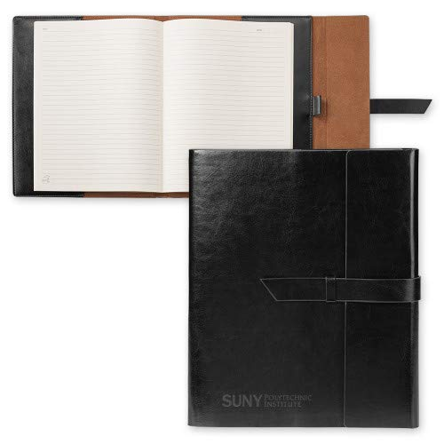 CollegeFanGear SUNY Polytechnic Fabrizio Black Portfolio w/Loop Closure 'Primary Mark Engraved'