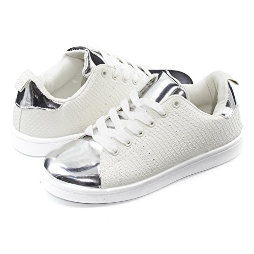 Sara Z Womens Embossed Shiny Toe Lace-Up Sneakers White/Silver - Hottest Women White