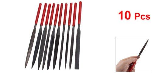 10 Pcs Hand Tools Red Plastic Handle Metal Shank Warding Checkering Needle Files