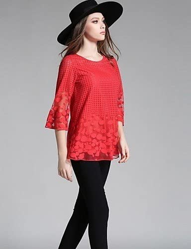 Mujer Camisa Blusa elegante mujer Blusa – Camiseta de mujer – Camiseta de mujer – Rejilla poliéster ¾ de brazo cuello redondo, color Rojo - rojo, tamaño XXL: Amazon.es: Deportes y aire libre