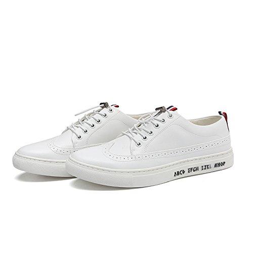 WZG zapatos casuales de Nueva Inglaterra de los hombres con cordones de cuero redondo y plano transpirable bajo para ayudar a los hombres White