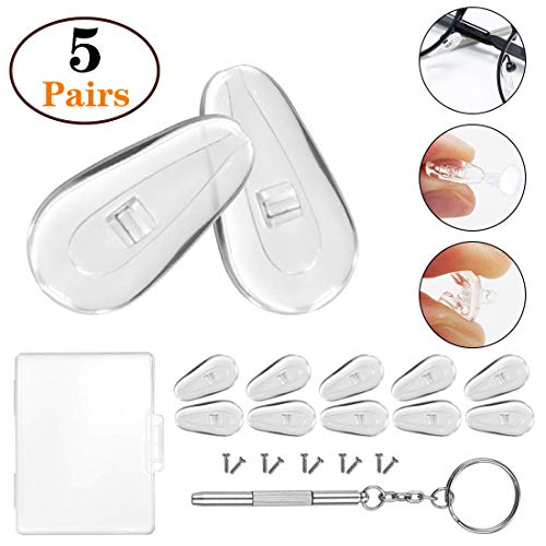 Soft Silicone Eyeglass Nose Pads, PTSLKHN Upgraded Air Chamber Eyeglasses Nose Pad, 5 Pairs of 15mm Screw-in Glasses Nose Pad Set(with Micro Screwdriver and Screws)