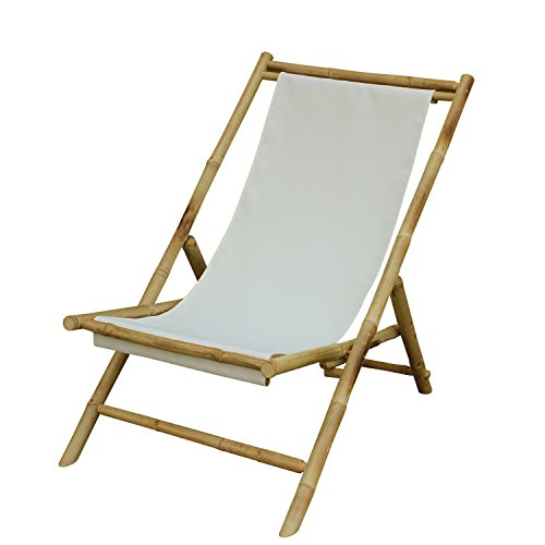 Zew Handmade Foldable Bamboo Lawn Sling Chair with Treated Canvas, 37