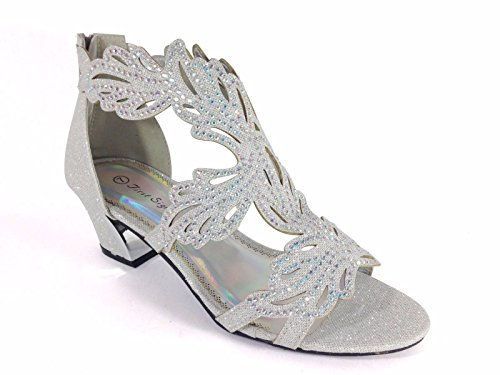 Lime03N Womens Open Toe Mid Heel Wedding Rhinestone Gladiator Sandal Wedge Shoes (8, Silver)