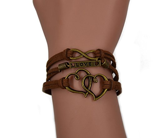 CHOP MALL Fashion Lady Retro Double Heart Infinity Love Lover Strands Suede Rope Bracelet Gift ()