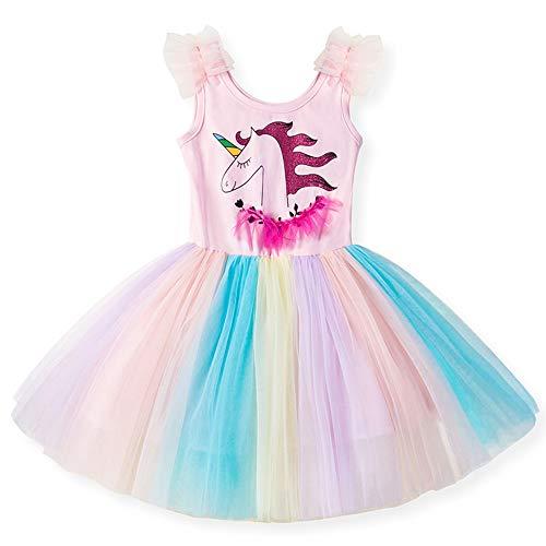 - Little Girls Tank Dress Unicorn Tutu Summer Dresses Princess Party Colorful Rainbow Lace Skirt