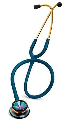 3M Littmann Classic II S.E. Stethoscope, Rainbow-Finish Chestpiece, Caribbean Blue Tube, 28 inch, 2823