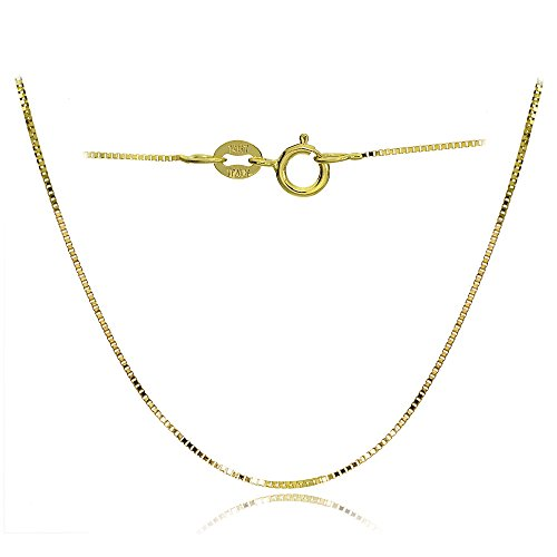 Bria Lou 14k Yellow Gold .6mm Italian Box Chain Necklace, 18 Inches by Bria Lou