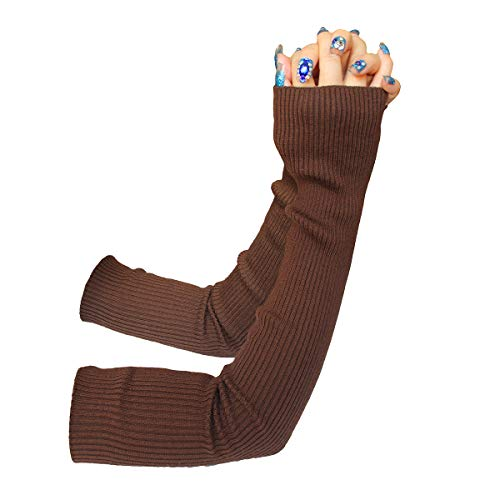 (Share Maison Women's Winter Fingerless Stretchy Cashmere Wool Gloves Long Arm Warmers Fashion Sleeves (14-dark coffee) )