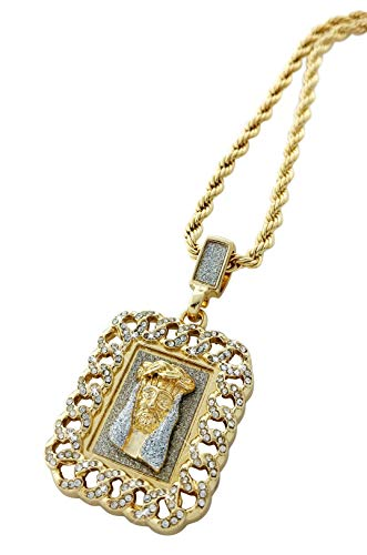 - Iced Out Jesus Face Cuban Link Dog Tag Pendant Necklace with 24