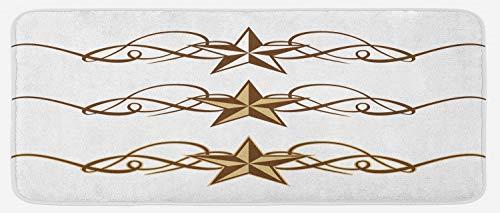 Ambesonne Primitive Country Kitchen Mat, Western Stars Scroll Design Ornate Swirls Antique Print, Plush Decorative Kithcen Mat with Non Slip Backing, 47