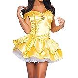 Quesera Women's Princess Belle Dress Off Shoulder Sweetheart Neckline Halloween Costume