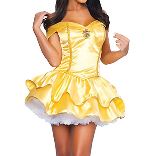 Quesera Women's Princess Belle Dress Off Shoulder Sweetheart Neckline Halloween Costume, Yellow, TagsizeXL=USsizeM