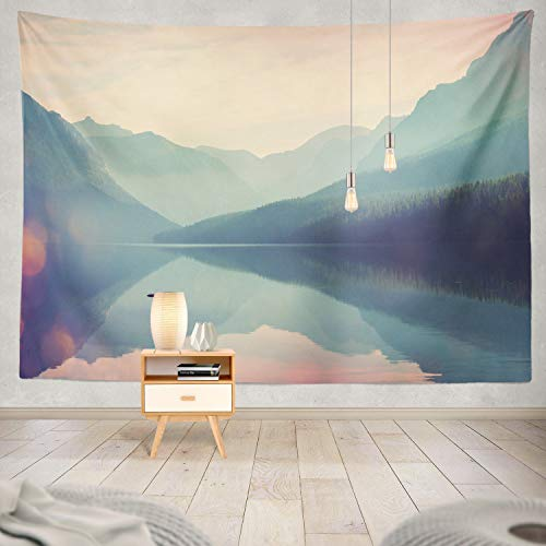 Home Tapestry - Wall Hanging Nature Tapestry, National Park USA Instagram Mountain Lake Nature Summer Wilderness 60 x 80 inch Home Decorations for Living Room Bedroom Dorm
