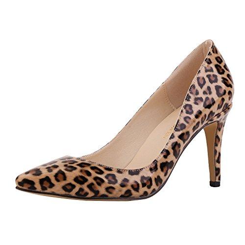 Loslandifen Womens Shoes Closed Toe High Heels Womens Pointed Slender Leather Pumps Neon Leopard,8cm Heels