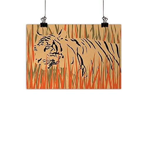 422055aefb0 Josepsh AfricaPosters & Prints Painting, Tiger in The Bushes Camouflage  Carnivore Predator Feline African Safari