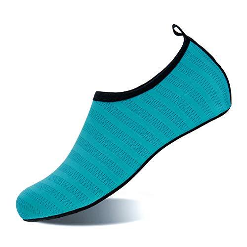 Womens and Mens Water Shoes Barefoot Quick-Dry Aqua Socks for Beach Swim Surf Yoga Exercise (Aquamarine Blue, -