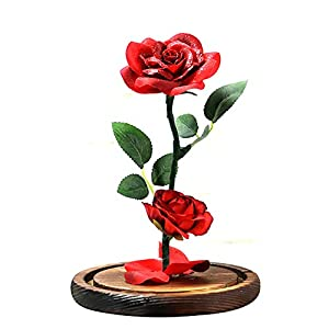 Sixpi Beauty and Beast Roses, Dream Flower Red Silk Rose with LED Light and Fallen Petals on a Glass Dome Wooden Base, Best for Weddings, Anniversaries, Best Gift for Her Big 5
