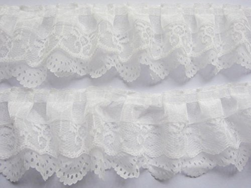 Trim Lace Gathered - YYCRAFT Pack Of 15y 3-layer Pleated Organza Lace Edge Trim Gathered Mesh Chiffon Ribbon