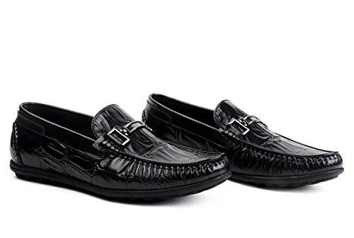 Black On Men's Leather Shoes Dress Loafer Slip Insun HwSn10qq