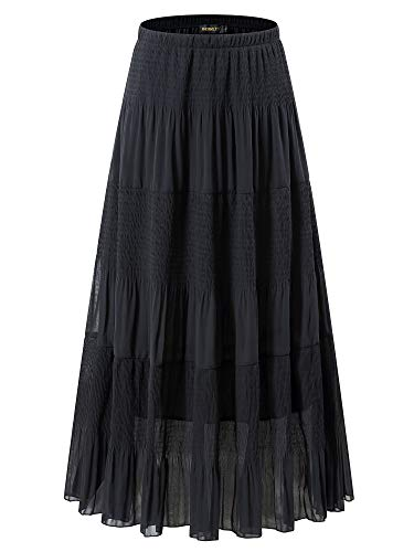 NASHALYLY Women's Chiffon Elastic High Waist Pleated A-Line Flared Maxi Skirts(Black, ()
