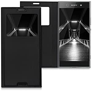 kwmobile Practical and chic FLIP COVER case with window and synthetic leather for Sony Xperia XA1 Ultra in black