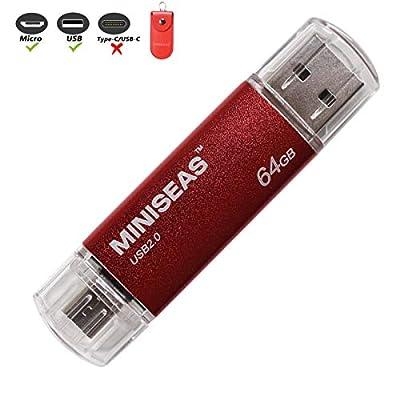 OTG USB Flash Drive Miniseas Micro-Port Memory Stick for Android Phones,USB 2.0 Pen Drive Jump Drive for Tablets, Thumb Drive Pendrive for Android Devices/PC/Tablet/Mac by Miniseas