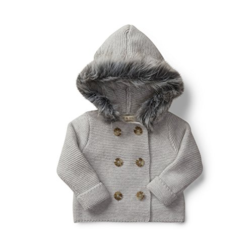 Apparel Layette (Hope & Henry Layette Grey Baby Sweater with Faux Fur Hood Made with Organic Cotton Size 3-6 Months)