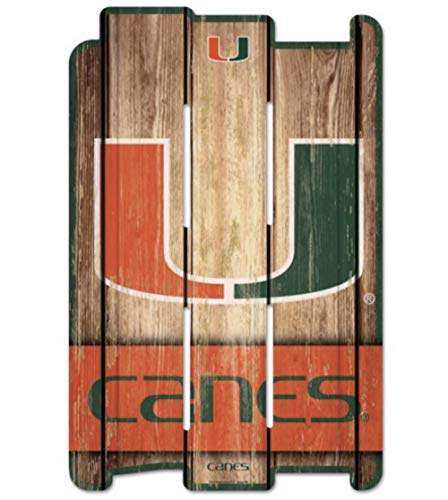 WinCraft NCAA University of Miami Wood Fence Sign, Black ()