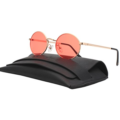 VIVIENFANG Vintage Tinted Lens Small Oval Polarized Sunglasses For Unisex 87156B Red - Lens Tinted