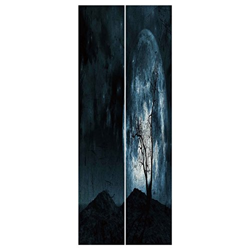 3d Door Wall Mural Wallpaper Stickers [ Fantasy,Night Moon Sky with Tree Silhouette Gothic Halloween Colors Scary Artsy Background,Slate Blue ] Mural Door Wall Stickers Wallpaper Mural DIY Home Decor ()