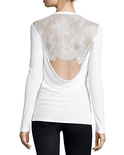 BCBGMAXAZRIA Kaylen Cowl Back with Lace (Small, White)