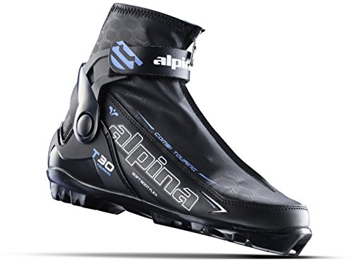 (Alpina Sports Women's T 30 Eve Touring Ski Boots With Cuff & Zippered Lace Cover, Euro 35, Black/White/Blue)