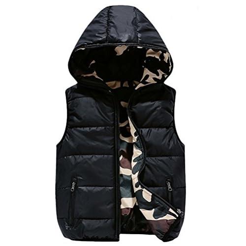 Mallimoda Boys Lightweight Hooded Puffer Down Vest Jacket Waistcoat Double Side Wear