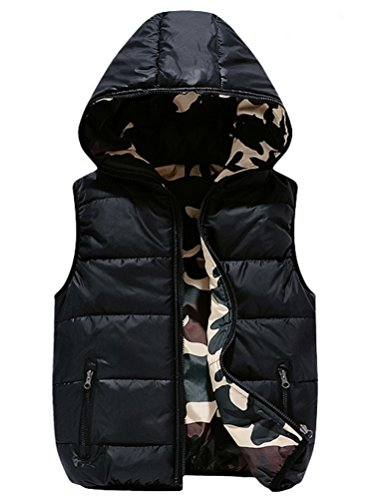 Mallimoda Boys Lightweight Hooded Puffer Down Vest Jacket Waistcoat Double Side Wear Black 11-12 Years ()
