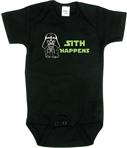 Funny Baby Outfit, Sith Happens T Shirt, Star Wars Inspired, Black 6-12 mo ()