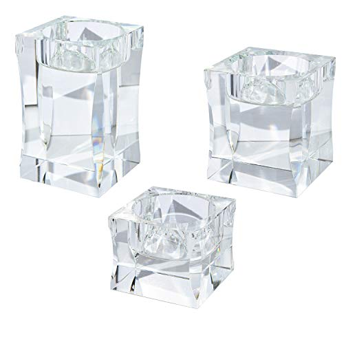 Le Sens Amazing Home Candle Holders Set of 3 Pieces Elegant Heavy Crystal Diamond Side Cut Tealight Holders, Clear Square Glass Cube Candle Holder for Wedding Centerpiece and Home ()